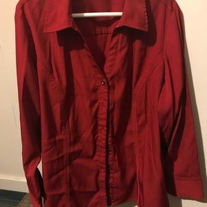 Red button down dress shirt with gorgeous buttons